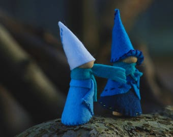 Arctic tale two waldorf gnomes, handmade natural toys, blue felt peg dolls, two winter travelers