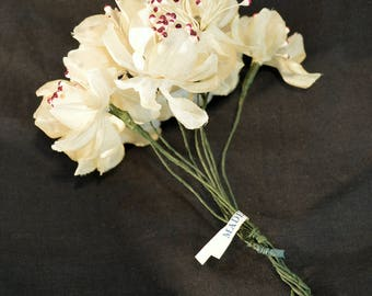 Vintage White Fabric Made in Japan Flower Millinery Supply Bouquet
