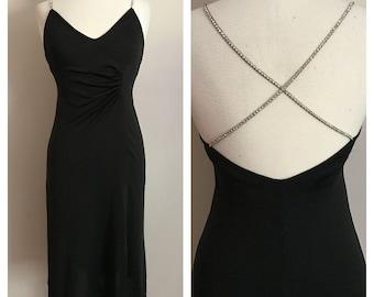 80s Slinky Black Dress with Rhinestone Straps