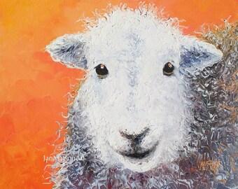 SHEEP painting, FRAMED, nursery art, lamb, Animal Painting, kitchen decor, sheep art, country home decor, kids wall art, Jan Matson