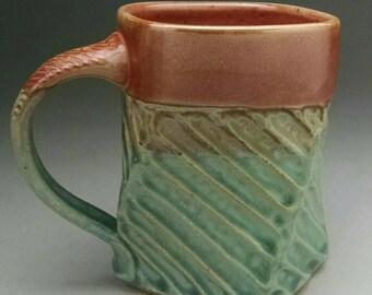 Twisted Stoneware Mug - Aqua & Shino - Made To Order