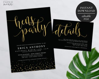 Gold Bachelorette Party Invitation | Editable PDF | Hens Night Invitation | Hens Party | Black and Gold Foil | Details Card | Gold Foil