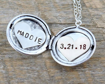 Personalized Name Locket, Silver Locket Necklace, Date Necklace, Heart Necklace, Gift for Mom, Anniversary Gift