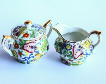 Vintage Lefton Single Serve Sugar Bowl & Creamer ~ Miniature Porcelain China Floral Leaf Design ~ Tea Party Gift for Her