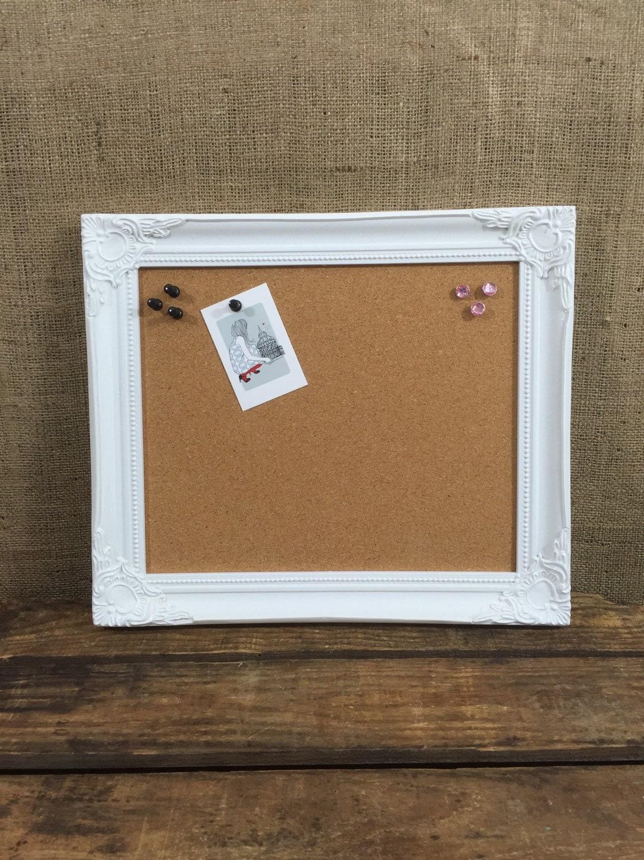 White wooden framed cork board framed pin board ornate zoom jeuxipadfo Gallery
