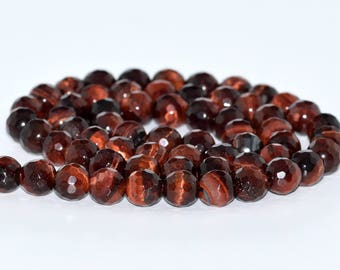 "6MM Faceted Red Tiger Eye Natural Gemstone Full Strand Round Loose Beads 15"" (100818-320)"