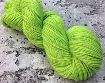 ELECTRIC LIME - 80/20 Merino Sock Hand-dyed Yarn