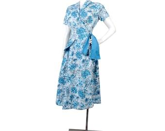 Vintage 50s Dress - 50s Day Dress - 50s Wraparound Dress - 50s Cotton Dress - Rockabilly - Blue Gray - 50s Cotton Day Dress - Swirl - M L