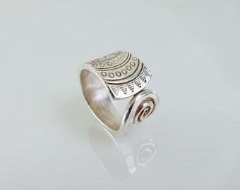 Karen Hill Tribe Silver Engraved & Swirl  Ring - Adjustable Ring- Sterling Silver Ring - Silver Jewellery