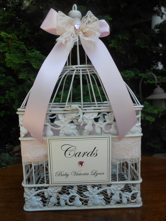 items similar to pink baby shower card holder    birdcage