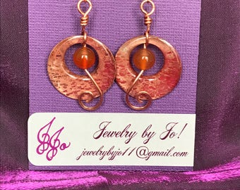 Copper Circle Earrings with Carnelian