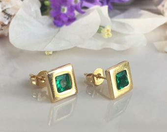 20% off- SALE!!!  Emerald Earrings - May Birthstone - Square Earrings - Post Earrings - Shiny Earrings - Simple Earrings - Delicate Studs