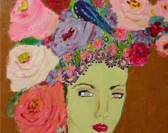 Goddess, headdress, lady, woman, roses, pink, purple, aqua, bohemian