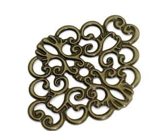 Print / bronze filigree connector diamond