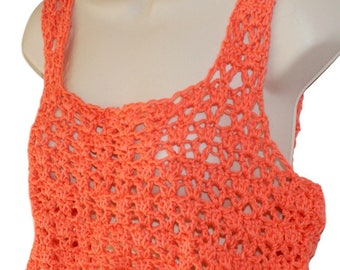 Crochet Crop Top, Sleeveless Top, Orange Cotton Tank, Summer Top, Summer Blouse, Cotton Top, Woman Summer Shirt, Sun Top, Festival Clothing