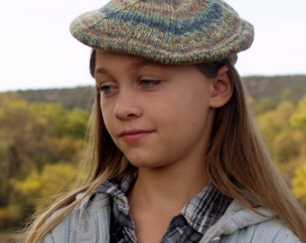 Handspun, Handknit Wool Hat. Kids Size Multicolored Beret.