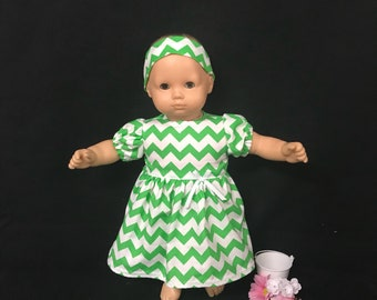 Doll Clothes Fits Like American Girl Bitty Baby Doll Clothes Fits  Most 15 Inch Dolls Green and White Chevron Print Dress or Zig Zag Print