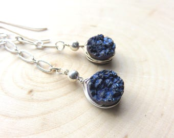 Long Druzy Earrings, Dark Blue Druzy Stone on Sterling Silver, Raw Gemstones, Gift for Someone Special, Gemstone Chain Earrings Mothers Day