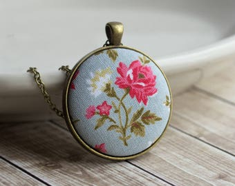Pink Rose Necklace, Dusty Blue Wedding, Boho Jewelry, Floral Fabric Necklace