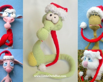 016 Christmas - New Year Hat and scarf for toys - Crochet Pattern - PDF file by Astashova Etsy