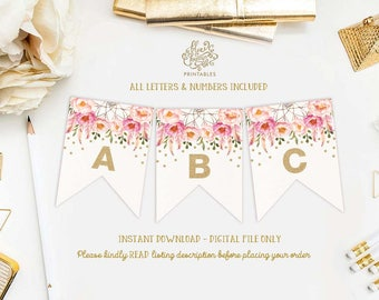 Printable Banner ALL LETTERS and NUMBERS. Floral Boho Dreamcatcher Bridal Shower Decoration. Pink Gold Bohemian Flowers Wedding. FLO12A