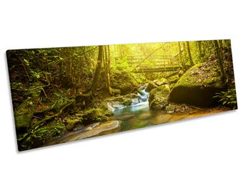 Green Forest River Bridge CANVAS WALL ART Panoramic Framed Print