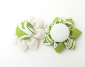 Set of 2 Flower Magnets in Green & White Toile, Fridge Magnets, Magnetic, Fabric Flower, Kanzashi Flower, Bulletin Board Magnet
