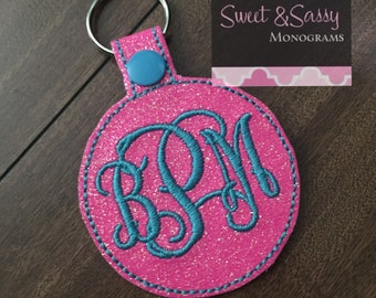 Glitter Monogram Key Chain. Glitter Monogram Key Fob. Monogram Key Chain. Monogram Key Fob. Monogram Snap Tab. Stocking Stuffer