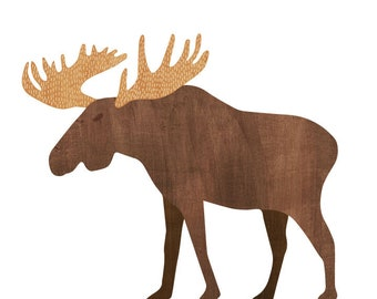 Moose Watercolor Wall Decals - Moose Fabric Wall Decals