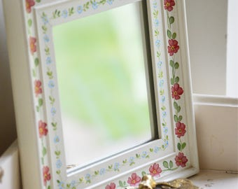 Handpainted wooden mirror