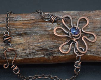 Copper Flower Bracelet with Blue Bead Center
