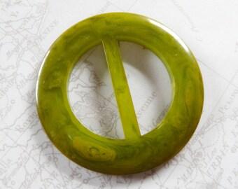 Marbled Green Bakelite Slide Buckle