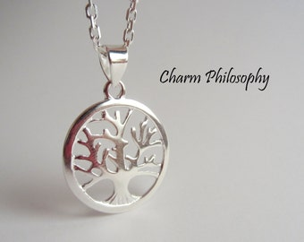 925 Sterling Silver Tree Necklace - Tree of Life Pendant - Pure Sterling Silver