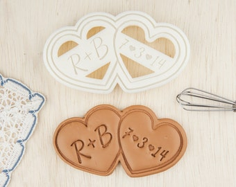 Wedding Cookie Cutter Double Heart Shaped Cookies Personalized