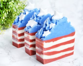 4th of July Soap - Independence Day Decor - Stars and Stripes - Fourth 4th of July Decor - Flag Soap - Patriotic Decor - Red White and Blue