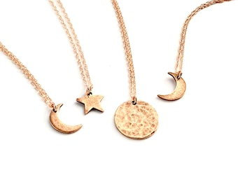 Simple|Celestial|Jewelry | Rose Gold Full Moon, Waning Crescent Moon, Waxing Crescent Moon, Star Necklaces | For Friend Valentine Gift