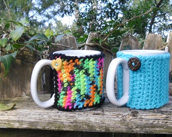 Tea or Coffee mug Cozy in Light Turquoise or Candy Variegated, cup cozy, mug sweater, mug cover