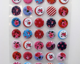 45 Puffy stickers - flowers - pink