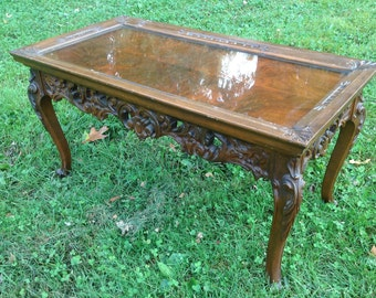 Vintage Ornate Coffee Table, Display Coffee Table, Rococo Coffee Table, Wood, Paint to Order, Custom Painted, Glass Display, Removable Top
