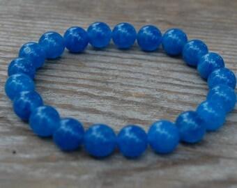 Blue Agate Bracelet,Gemstone 8mm Round Beads,Elastic Bracelet Ft,Gemstone Stretch Bracelet,Man,Women,Beaded,Boho,Yoga,Healing Stones
