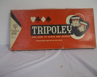 Tripoley the game of Kings and Queens by Mr. Fun Cadaco crown edition # 225 From 1962 Everything but the playing cards in fair condition