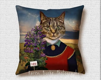 Cat Pillow, Cat Lady Pillow, Lady with plant, Grant Wood, Whimsical Art, Home Decor, Throw Pillow, Square Pillow, Cat Lover, Crazy cat Lady