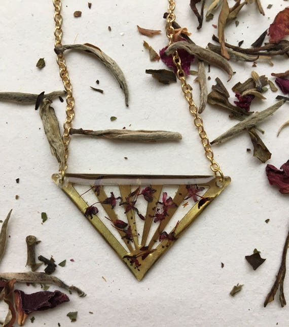 Mountain fleece flower triangle brass necklace