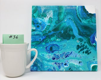 Turquoise Seas Acrylic painting Wall Art -- wall decor is Handmade and can be hung any room in the home.