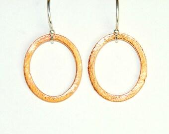 Mixed Metal Earrings - Copper and Sterling Silver -  Copper Hoop Earrings - Simple