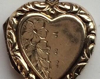 Vintage Heart Locket 9ct B+F