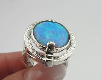 Round Opal Silver Ring, 925 Silver Ring, Blue Opal Ring, Blue Opal, Opal Jewelry, Ring size 8, October Birthday Gift, Free Shipping