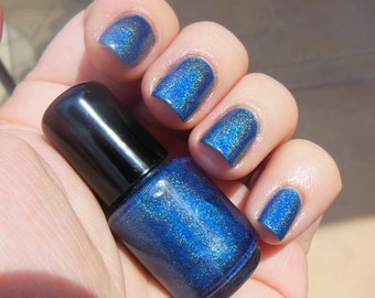 Linear Rainbow HOLOGRAPHIC Medium Blue Indie Nail Polish Lacquer 2 Sizes