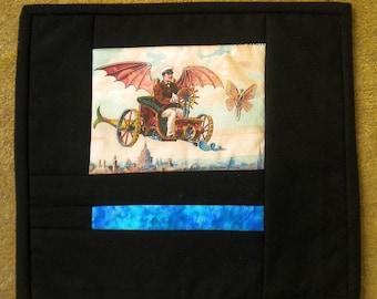 Steampunk Flying Fish Car: Illustration in Fabric Mug Rug Quilt