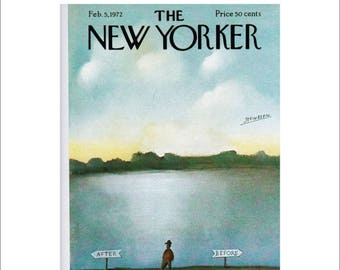 Vintage The New Yorker Magazine Cover Poster Print, 1972 Matted to 16 x 20 , Item 4013, Blue Art Before, After